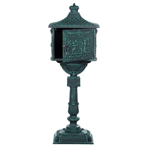 Antiker großer und sehr edler Briefkasten GLY 05 Antikgrün Standbriefkasten, Säulenbriefkasten, Nostalgischer Englischer Briefkasten Alu – Guss 116 cm hoch . Mit riesigem Postfach für mehr Volumen. - 2
