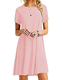 OMZIN Women Swing Short Sleeve Soft Material Solide Color Tops Plus Size T Shirt Pink M