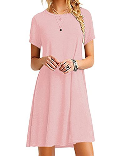 OMZIN Damen Winter Herbst Basic Kurzarm Casual Loose Dress Pink XXL -