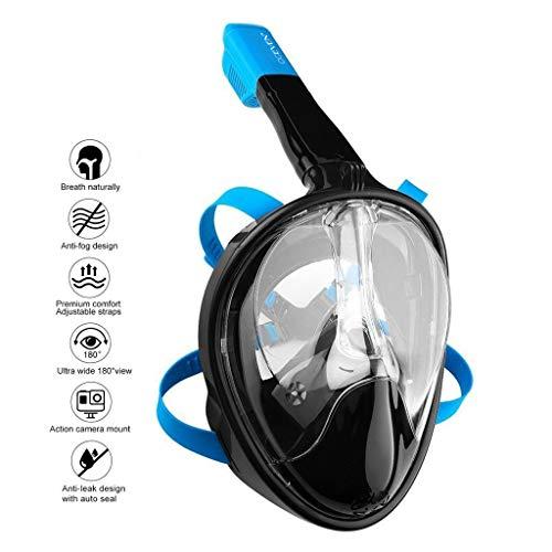 OCEVEN 180° Vollgesichts-Schnorchelmaske Easy Breath Anti-Fog/Anti-Leak Schnorchelmaske mit Verstellbaren Kopfbändern, mit längerem Schnorchelschlauch (S/M, Schwarz-Blau)