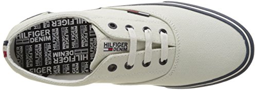 Tommy Hilfiger V2385ic 2D, Sneakers Basses Homme Blanc (Off White 156)