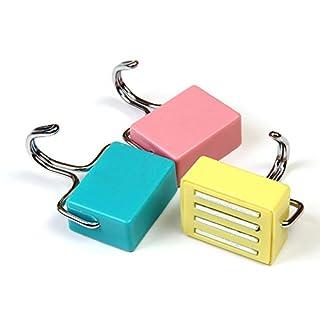 Alohha Allzweck-Magnethaken für die Küche, für Schlüssel, Mantel, Kühlschrank und Türen, 3er-Pack in den Farben Pink, Gelb und Blau