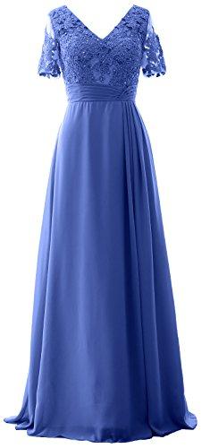 MACloth Elegant V Neck Mother of the Bride Dress Half Sleeve Formal Evening Gown Horizon