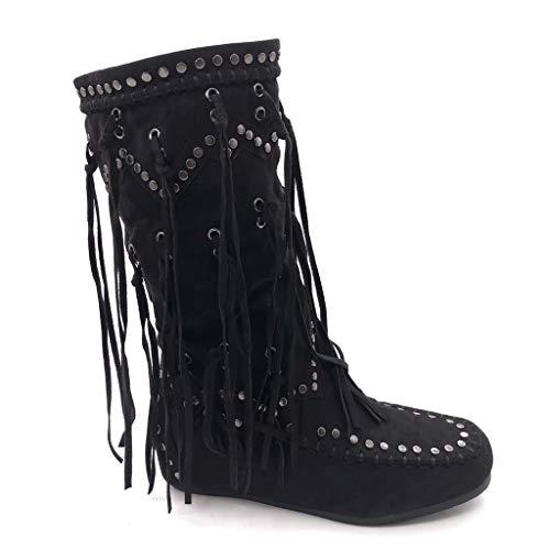 Angkorly - Damen Schuhe Stiefel - Mokassin Stiefel - Reitstiefel Kavalier - Folk - Fransen - Nieten - besetzt Flache Ferse 5 cm - Schwarz B7675 T 36