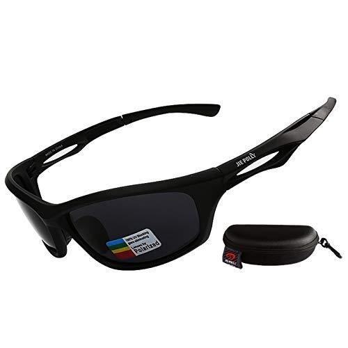 Gnzoe PC Sportbrille Radbrille Sonnenbrille Polarisierte Nachtsichtbrille Outdoor Schutz Brille für Motorrad Fahrrad Helmkompatible/Schwarz