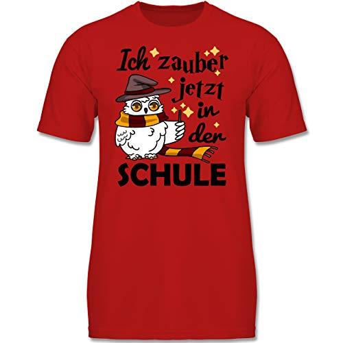 Kostüm Eule Rote - Einschulung und Schulanfang - Ich zauber jetzt in der Schule Eule mit Zauberstab - 128 (7-8 Jahre) - Rot - F130K - Jungen Kinder T-Shirt