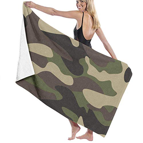 Serviette de bain, Microfiber Beach Towel Blanket Quick Fast Dry Super Absorbent Lightweight Thin Towels for Travel Pool Swimming Bath Camping Yoga Gym Sports Idea Green Brown Camo Camouflage