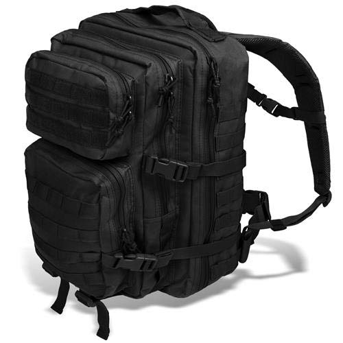Black Snake US Assault Pack II Damen und Herren Rucksack Outdoor Backpack Schwarz (Motto Ware)
