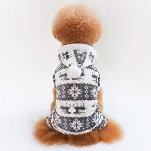 Kostüm Pinguin Füße - PZSSXDZW Herbst und Winter Pet Kleidung Korallenrotes Vlies Warme Kapuze Hundekleidung Vier Füße Kitz Grey X-Large