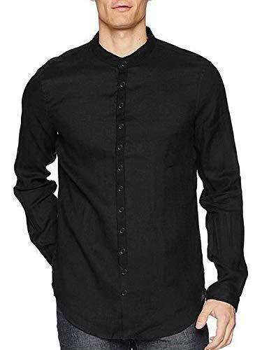 COOFANDY Herren Leinenshirt Langarm Leinenhemd Stehkragen Button Verschluss Klassische Casual Hemden für Männer Schwarz M