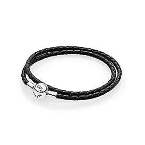 Pandora 590745CBK Damen Leder-Wickelarmband Zweifach Schwarz 590745CBK-D