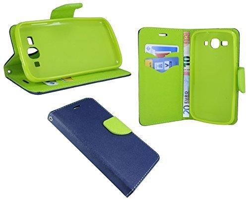 Huawei Ascend Y540 // Buchtasche Hülle Case Tasche Wallet BookStyle mit STANDFUNKTION in Blau-Grün (2-Farbig) @ Energmix