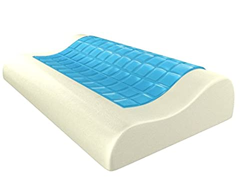 Gel Cooling Memory Foam Pillow, Contour Curve Orthopaedic Shape Bed Pillow, Comfortable Neck and Head Support, Muscle Pain and Snore Relief, for Side Back and Stomach Sleepers, with Removable Case