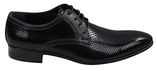 Homme chaussure design peau de crocodile brillant lacets en couleur Rouge,noir et bleu marine Noir