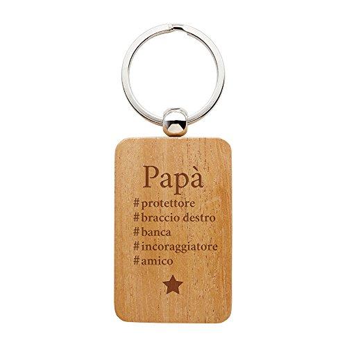Casa vivente - portachiavi con incisione - hashtag papà - portachiavi rettangolare in legno di noce - regalo per lui - regalo per il papà - festa del papà - regalo di natale