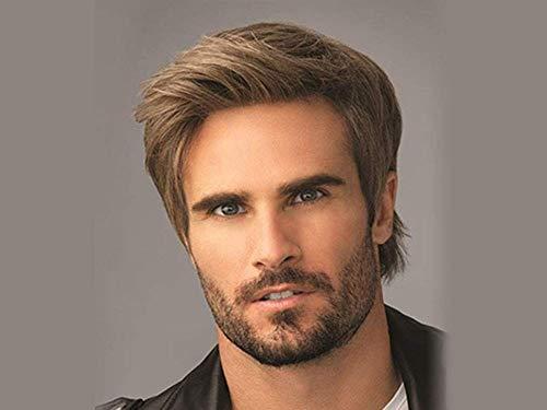 Layered Kurzes Haar (Feeyond Perücken Kurzes Haar Tagesperücke Braun Layered Frisur männlich Perücke für Männer natürlich wie echtes Haar mit freier Perücke Kappe)