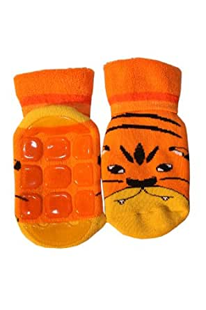 Weri Spezials Unisexe Bebes ABS Eponge Petit Tigre Chaussettes 12-24 Mois (19-22) Orange
