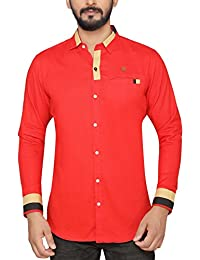 PP Shirts Men Red Coloured Shirt With One Pocket On Chest