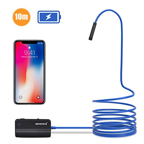Depstech 1200P biegbarem Halbsteifen Kamerakabel Upgrade Wireless Borescope EndosKop, WiFi Endoscope Inspection Kamerakopf 8.5mm Durchmesse,Brennweite bis 40cm &1800mAh Batterie Schlange Kamera für Android & IOS Smartphone Tablet - blau (32.8 ft / 10M)