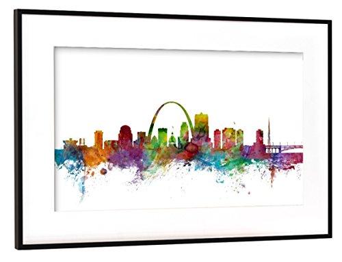 artboxONE Poster mit Rahmen Schwarz (Metallic) 30x20 cm St Louis Missouri Watercolor von Michael Tompsett - Missouri Rahmen