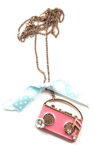 Retro Pink Radio Recorder Ghetto Blaster Halskette mit blauer Schleife