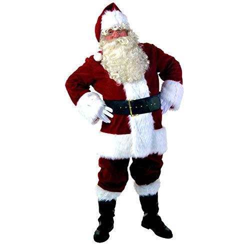 Weihnachtskostüm Weihnachten Santa Kostüm Für Männer Erwachsene Cosplay Party Roten Anzug Mantel Hosen Bart Gürtel Hut Set ()