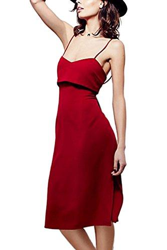 Frauen Sexy Neckholder Schlitz Little Black Dress Red