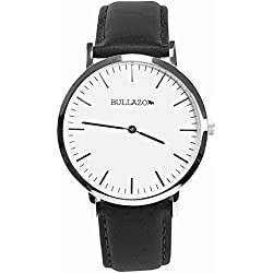 BULLAZO SENCILLO Uhr mit Analog Quarz Uhrwerk aus Edelstahl mit Echtleder Wechselarmband. Armbanduhr für Damen und Herren. XL 40 mm groß elegant klassisch flach. 20 mm Lederband.