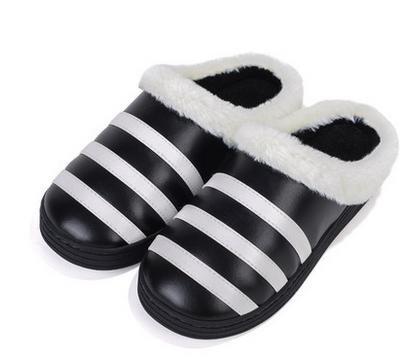 &zhou Autunno e cotone pantofole indoor home moda striscia spessore del fondo inverno uomo anti - ciabatte antiscivolo Black