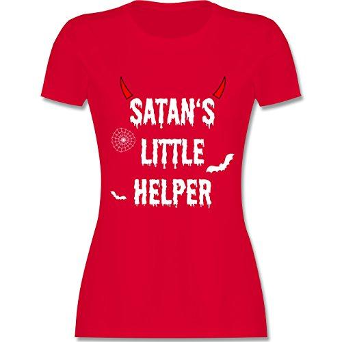 hsene - Satan's Little Helper - Halloween - Teufel - Hörner - Fledermaus - XXL - Rot - L191 - - Tailliertes Premium Frauen Damen T-Shirt mit Rundhalsausschnitt ()
