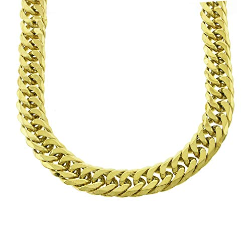 Solide 14 K Gelb Gold Finish Edelstahl 21 mm stark Miami Cuban Link Kette 76,2 cm Long Tight Link (Cuban Link-kette Gold 14k)