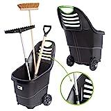 UPP chariot de jardin multi-usages I Chariot à déchets et outils I Poubellle de jardinage I Chariot de transport à deux roues I Aussi efficace qu'une brouette