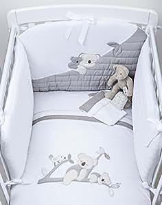 parure de lit couette 3 pièces brodé koala blinky blanc