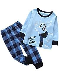 Miyanuby Pijamas Bebe, 2PCS Bebés Niño Niña Pijamas Navideños de Algodón Camiseta de Manga Larga