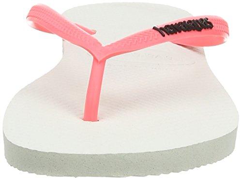 Havaianas Slim Logo, Tongs Femme Blanc (White/Coral / 2641)