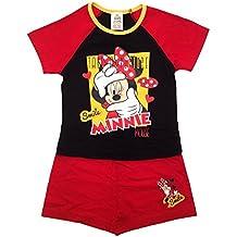 Conjunto de pijamas cortos, para niños, niñas, infantil, oficial de Disney de la Casa de Mickey Mouse, de Minnie Mouse, talla 1-4años