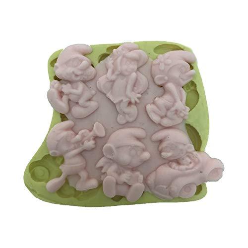 Partivitrini Schlümpfe Silikon Kuchen- und Zuckerteigform 4x4x0,5 cm (Schlumpf-kuchen)