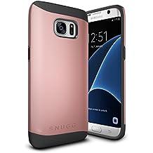 Funda Galaxy S7 Edge, Snugg Samsung Galaxy S7 Edge Case Slim Carcasa de Doble Capa [Infinity Series] Revestimiento con Protección Anti-Golpes – Oro Rosa