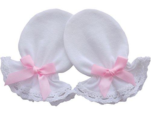 100% Baumwolle Jersey Neugeborene Baby handgefertigt Anti Kratz Fäustlinge Baumwolle Spitze Farbe Weiß weiß rosa schleife 0-3 Monate (Farbe Handschuhe Spitzen)
