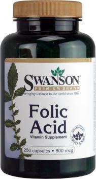 Swanson Folic Acid (800mcg, 250 Capsules) by Swanson Health Products