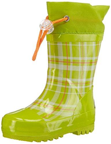 Playshoes Gummistiefel Karo aus Naturkautschuk - mit Reflektor 188651, Mädchen Gummistiefel, Grün (grün 29), EU 22/23