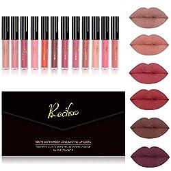 Rechoo Matte Rouge à Lèvres Liquide 12 Couleurs, Longue Durée Waterproof Brillant Maquillage à Lèvres Lot de (12Pcs New)