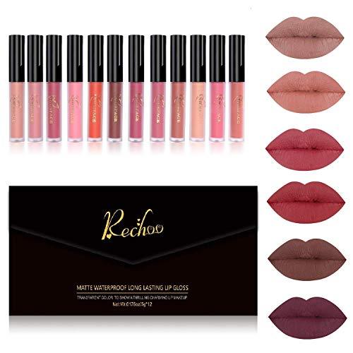 Rechoo 12 Farben Schönheit Lipgloss Wasserdicht Langlebig Matt Flüssig Lippenstift Set (12 PCS GIFT SET)
