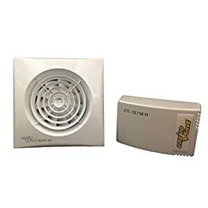 Envirovent sil100htp12V Silencieux Axial Ventilateur d'extraction d'air axial 100mm/10,2cm (Hygrostat) Basse Tension 12V AC SELV