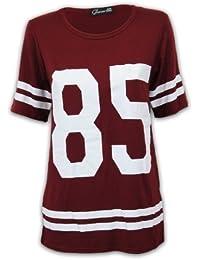T-shirt pour femme style Baseball Américain jersey Varsity 85 Ample neuf i85
