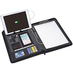 Porte-bloc Zippé A4, Organiseur A4 Bloc Note avec 5000mAh Power Bank, Porte Documents Portefeuille Support Pad, Dossier de Document de Conférence (Noir)