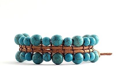 Bracelet Réglable de Perles Turquoise Pierre Naturelles 6 et 8 mm pour Femme