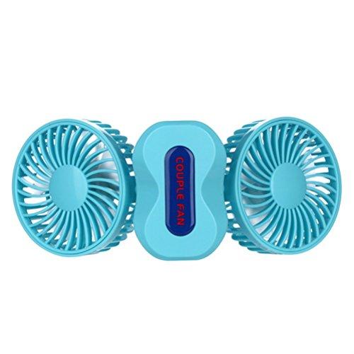 2Motoren Sommer Paare Klimaanlage Fan Tragbar Mini USB Fan wiederaufladbar blau