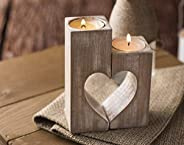 Wood candle holders Valentines Day Gift for Her Wedding gift ideas Rustic candle holder Wooden heart shaped De