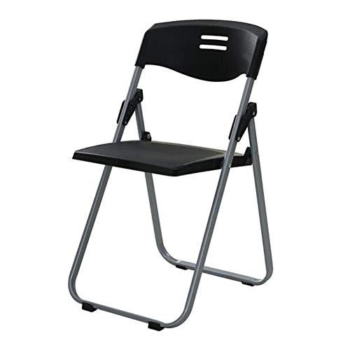 QIDI Klappstuhl, Klapphocker, Computerstuhl, Bürostuhl, Kunststoffstuhl, Empfangsstuhl, Lounge Chair, 37 * 41 * 79cm - Mehrfarbig Optional (Farbe : SCHWARZ)